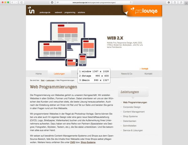 prolounge.de - Detect Browser Size - Screenshot