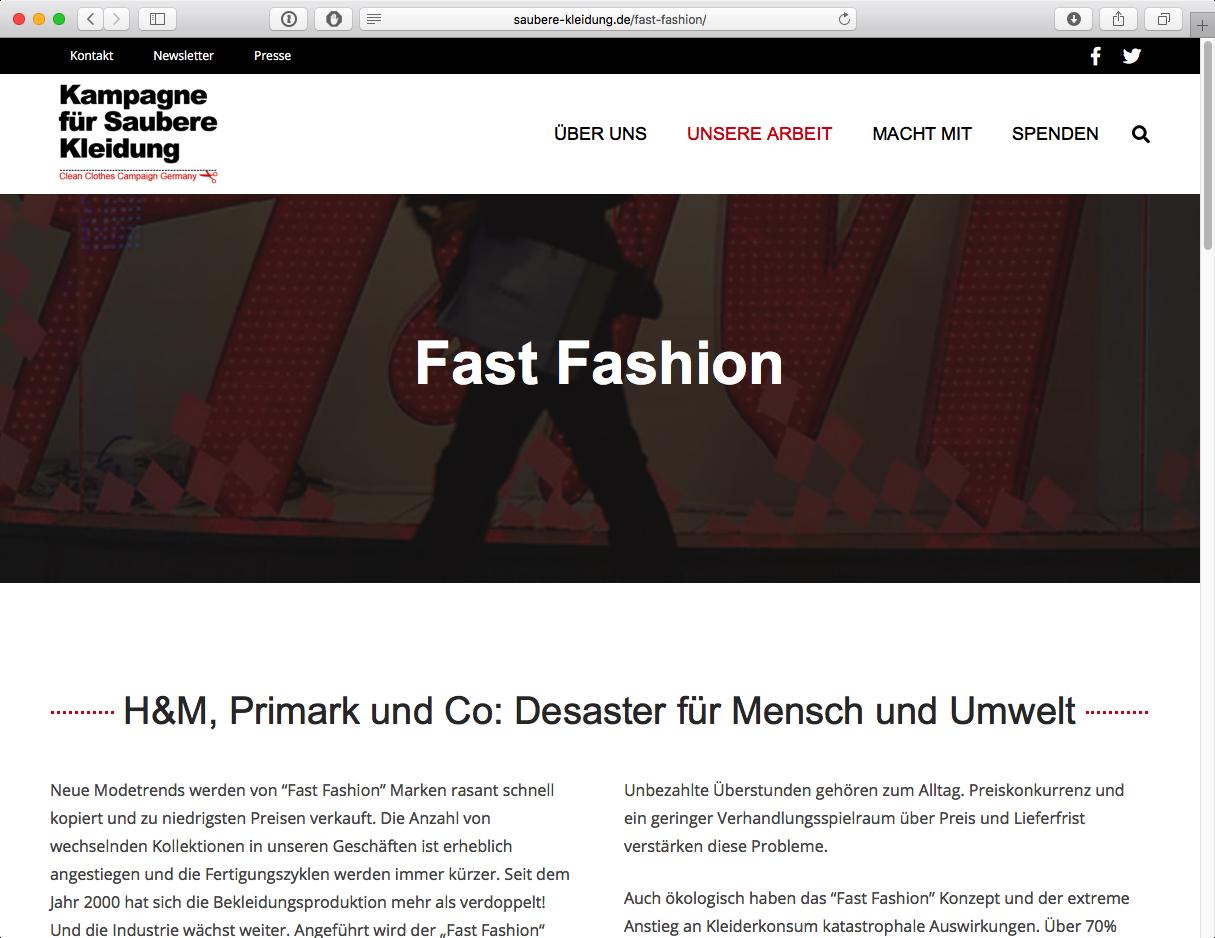 Kampagne für Saubere Kleidung - Fast Fashion