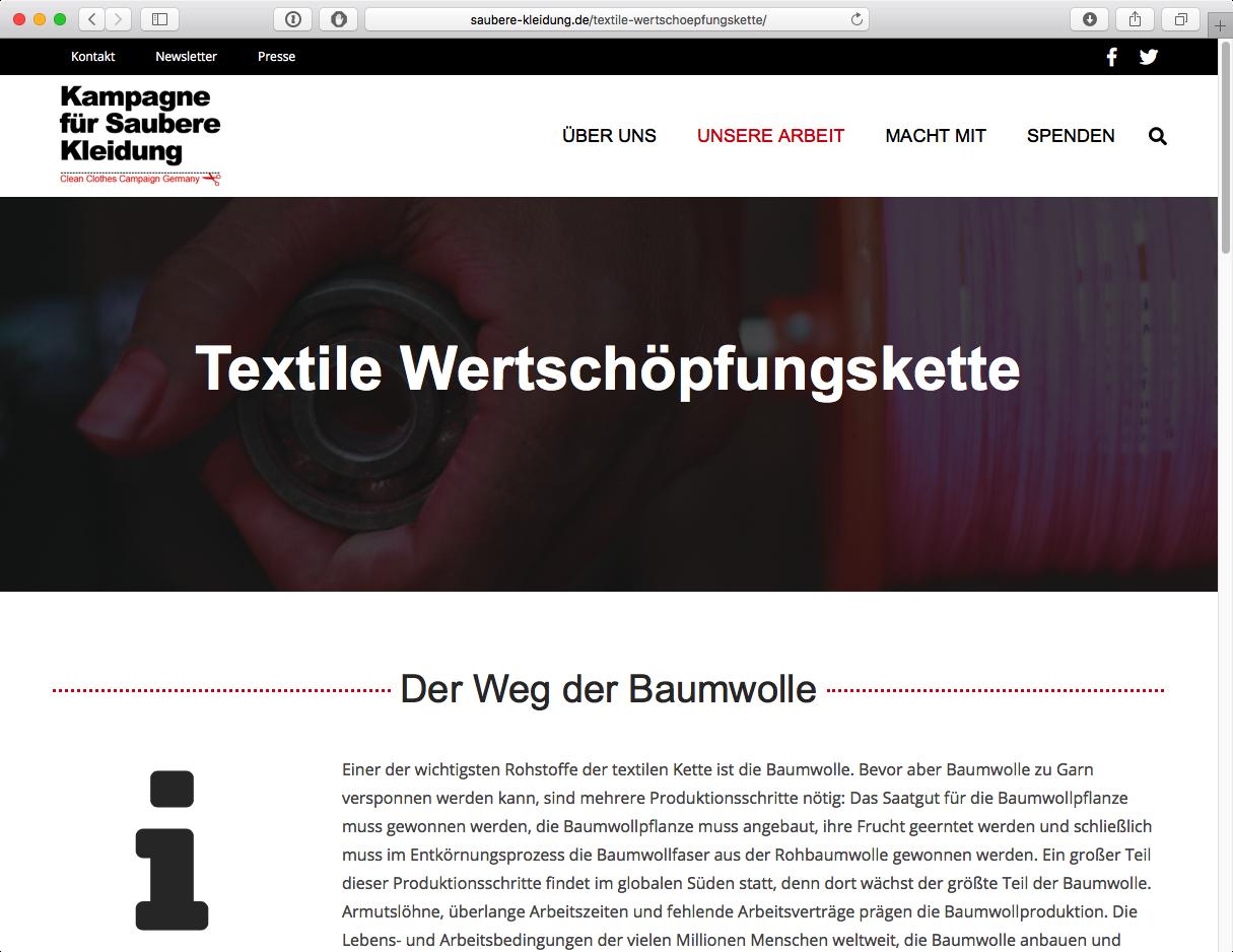 Kampagne für Saubere Kleidung - Textile Wetschöpfungskette