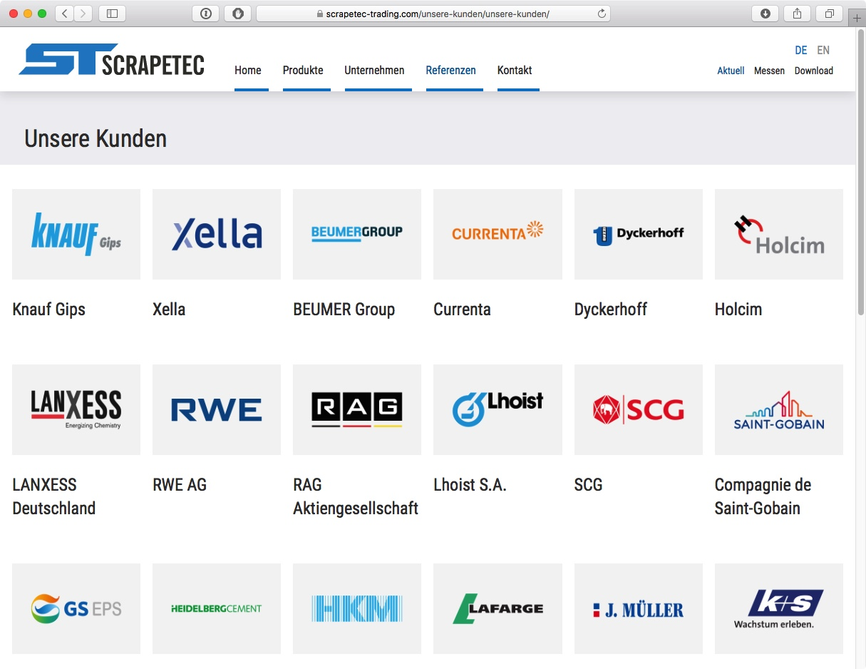 Scrapetec Trading GmbH - Referenzen